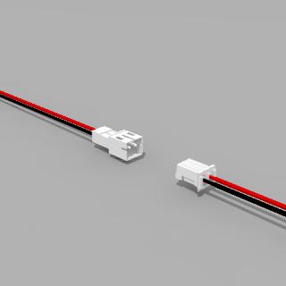 JST PH komp. Buchse/Stecker 2 polig mit je 10 cm Kabel 26 AWG - RM 2,0 mm